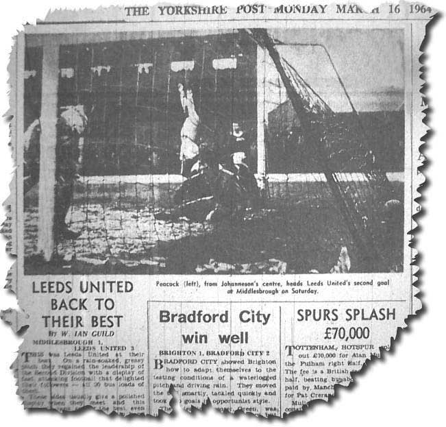 Yorkshire Post 16 March 1964 - Leeds United back to their best - Middlesbrough 1 Leeds United 3 - featuring a picture of Alan Peacock on the left heading United's second