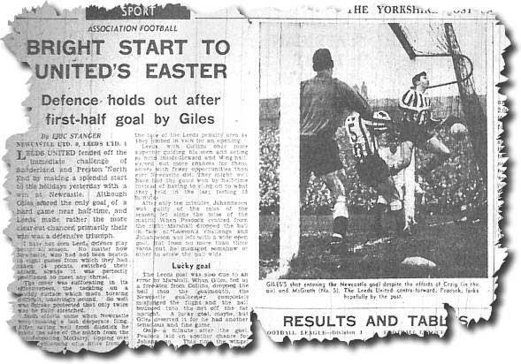 Yorkshire Post 28 March 1964 - Newcastle United 0 Leeds United 1 - Giles' shot enters the net despite the efforts of Craig and McGrath with Peacock on hand to make sure