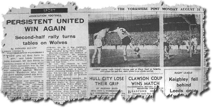 Yorkshire Post 31 August 1964 - Jim Storrie scores the winner against Wolves