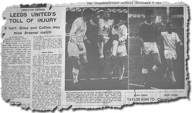 The Yorkshire Post covers the Battle of Goodison in November 1964 - the picture on the left shows Jim Storrie being carried off and on the right Collins and his former Everton team mate Brian Labone lead their teams off