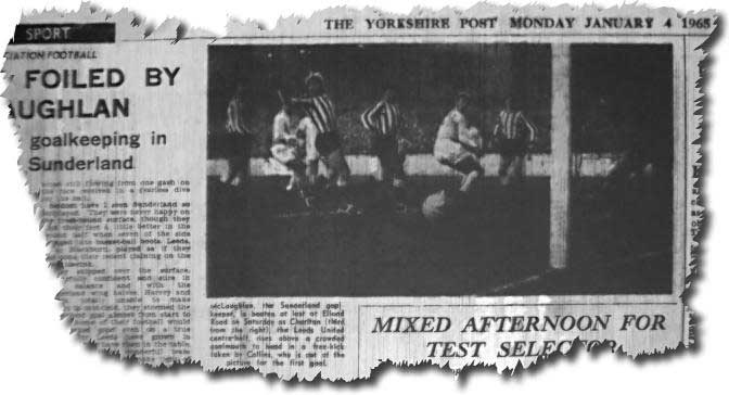 Yorkshire Post 4 January 1965 - Jack Charlton in the middle of the picture opens the scoring against Sunderland as Leeds go top