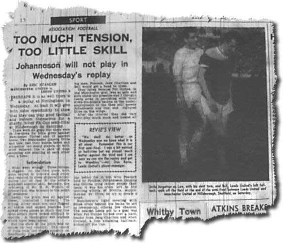 Yorkshire Post 29 March 1965 reporting the grim 0-0 draw in the FA Cup semi final between Leeds and Man U - Law and Bell troop off
