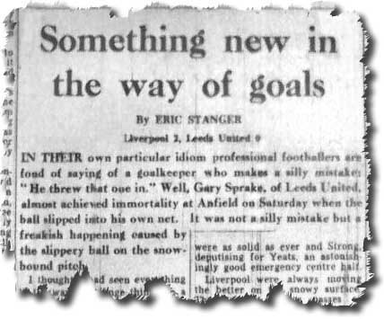 Yorkshire Post 11 December 1967 carrying Eric Stanger's report of Gary Sprake's fateful day at Anfield