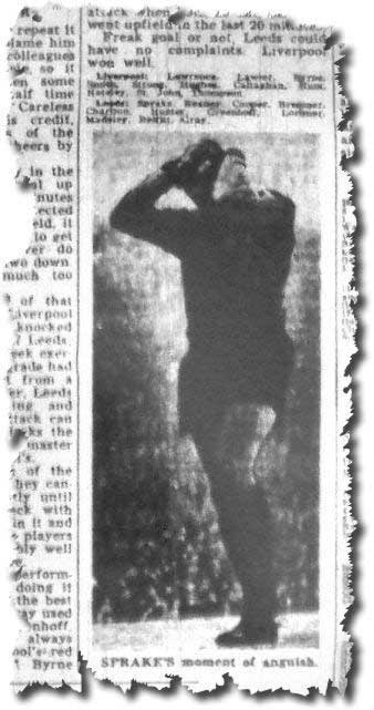 The anguish of Gary Sprake after his mistake at Liverpool two days earlier is clearly captured in the Yorkshire Post on 11 December 1967