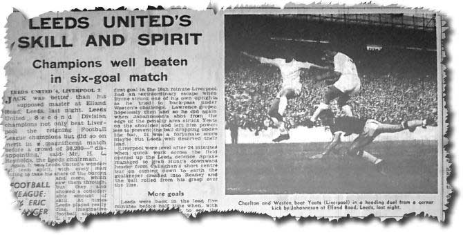 Yorkshire Post 27 August 1964 - featuring United's 4-2 win against Liverpool, with Charlton and Weston beating Yeats in a heading duel from a Johanneson corner