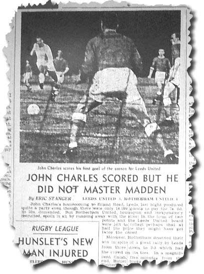 Charles is pictured ramming home his goal against Rotherham - Yorkshire Post 23 August 1962