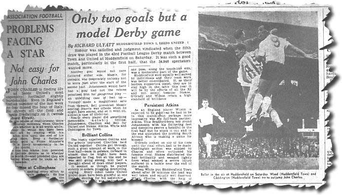 Yorkshire Post 3 September 1962 - Huddersfield keeper Wood and John Coddington cannot get the better of John Charles on this occasion