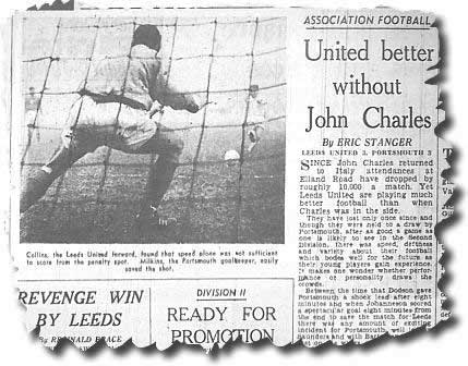 The Yorkshire Post of 3 December 1962 reflecting on life without John Charles and featuring a 3-3 draw at home to Portsmouth - the picture shows Bobby Collins having his penalty kick saved