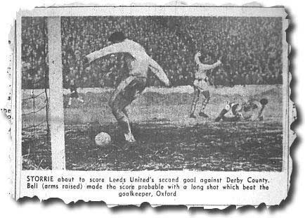 The Yorkshire Post captures Storrie snaffling a simple tap in at home to Derby in an easy 3-1 win - March 1963