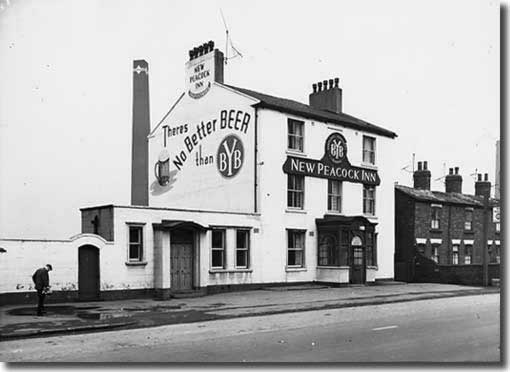 The New Peacock Inn, pictured in 1963, was owned by Bentley's Yorkshire Brewery (like the Old Inn) and was close to the Elland Road ground. It was at one time owned by John Charles