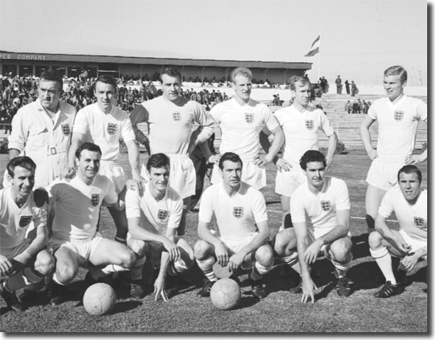 The England team that faced Argentina in the World Cup on 2 June 1962 - Back: Unknown, Greaves, Springett, Flowers, Charlton, Moore. Front: Douglas, Armfield, Peacock, Haynes, Norman, Wilson