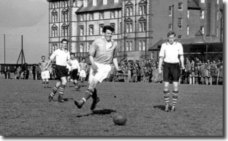 17-year-old Peacock in the white shirt on the left in action for Boro reserves against Whitby in the semi final of the North Riding Senior Cup in April 1955