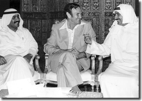 "Don Revie chats with representatives of the Saudi Arabian FA as he prepares to quit the England job - Hardaker despised him for the move, remarking sarcastically, ""I can only hope he can quickly learn to call out bingo numbers in Arabic"""