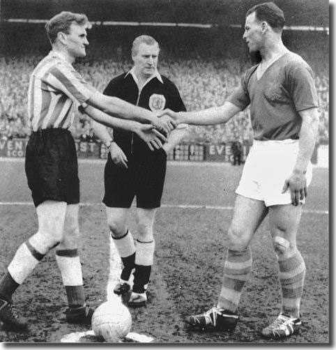 John Charles shakes hands with Sunderland captain Don Revie in the last game before the Welshman joined Juventus