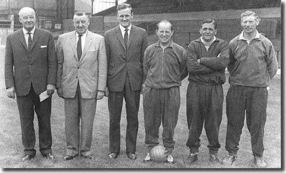 The Leeds United management team in 1962 - Cyril Williamson (general manager), Harry Reynolds (chairman), Don Revie (manager), Bob English (physio), Les Cocker (trainer), Syd Owen (coach)