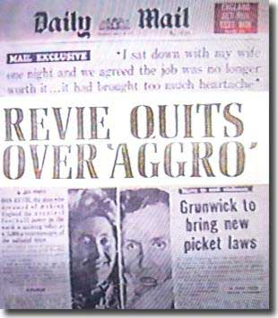 The front cover of the Daily Mail features Don Revie's decision to quite England