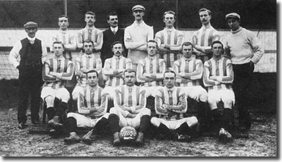 Brighton & Hove Albion 1905/06 team photo - Back: Joseph Clayton (Trainer), Thomas Turner,  H. King,  Frank Scott-Walford (Manager), Mark Mellors, Edwin Clare, Frank Buckley, Richard Kitto (Assistant Trainer) - Middle: Christopher Buckley, Proctor Hall, Dickie Joynes, William Yates, Thomas Allsopp,  James Kennedy - Front: Walter Anthony, Arthur Hulme, Albert Fisher