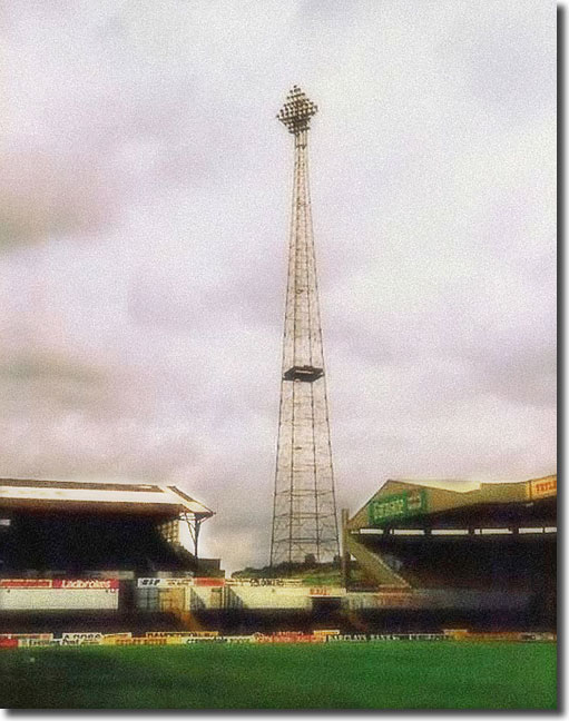 A classic shot of one of the old 260 foot tall Diamond Light floodlights. Three of the four pylons were erected in 1974 and this one, situated at the South East corner of the stadium, was constructed in 1978. Each housed 55 lamps and could be seen for miles around