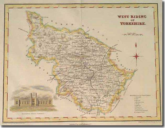 A map of the West Riding of Yorkshire in 1840 - this was difficult country for the football missionaries to convert